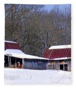 Barns And Horses In Winter Fleece Blanket