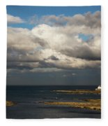 Barns Ness Lighthouse  East Lothian Fleece Blanket