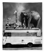 Barnum And Bailey Goes On A Road Trip 5d22705 Vertical Black And White Fleece Blanket