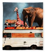 Barnum And Baileys Fabulous Road Trip Vacation Across The Usa Circa 2013 5d22705 With Text Fleece Blanket