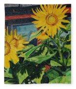 Barnyard Sunflowers Fleece Blanket