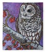 Barred Owl And Berries Fleece Blanket