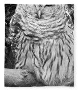 Barred Owl In Black And White Fleece Blanket