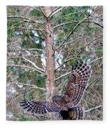 Barred Owl In Flight 2 Fleece Blanket