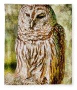 Barred Owl On Moss Fleece Blanket