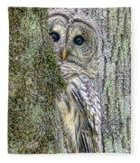 Barred Owl Peek A Boo Fleece Blanket