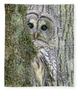Barred Owl Peek A Boo Fleece Blanket