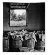 Barrels Of Beans - Bw Fleece Blanket