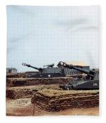 Base Camp Artillery Guns Self-propelled Howitzer M109 Camp Enari Central Highlands Vietnam 1969 Fleece Blanket