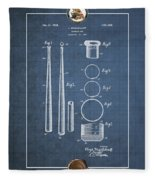 Baseball Bat By Lloyd Middlekauff - Vintage Patent Blueprint Fleece Blanket