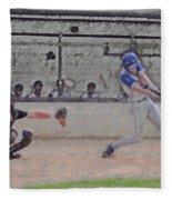 Baseball Batter Contact Digital Art Fleece Blanket