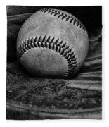 Baseball Broken In Black And White Fleece Blanket