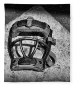 Baseball Catchers Mask Vintage In Black And White Fleece Blanket