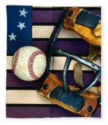 Baseball Catchers Mask Vintage On American Flag Fleece Blanket