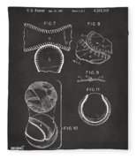Baseball Construction Patent 2 - Gray Fleece Blanket