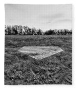Baseball - Home Plate - Black And White Fleece Blanket