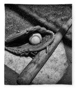 Baseball Home Plate In Black And White Fleece Blanket
