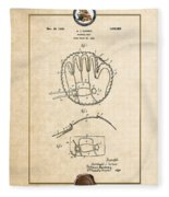 Baseball Mitt By Archibald J. Turner - Vintage Patent Document Fleece Blanket