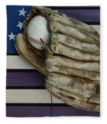 Baseball Mitt On American Flag Folk Art Fleece Blanket