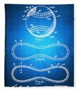 Baseball Patent Blueprint Drawing Fleece Blanket