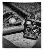 Baseball Play Ball In Black And White Fleece Blanket