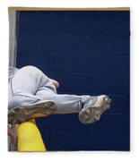 Baseball Playing Hard 3 Panel Composite 02 Fleece Blanket