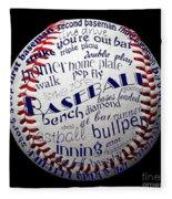 Baseball Terms Typography 1 Fleece Blanket