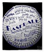 Baseball Terms Typography 2 Fleece Blanket