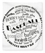 Baseball Terms Typography Black And White Fleece Blanket