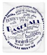 Baseball Terms Typography Blue On White Fleece Blanket