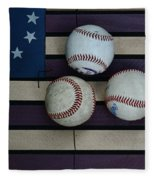 Baseballs On American Flag Folkart Fleece Blanket