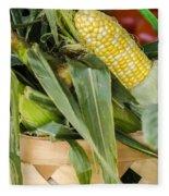 Basket Farmers Market Corn Fleece Blanket