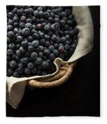 Basket Full Fresh Picked Blueberries Fleece Blanket