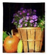 Basket Of Asters With Pumpkin And Gourd Fleece Blanket