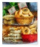 Basket Of Bialys Fleece Blanket