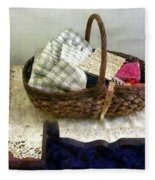 Basket With Cloth And Measuring Tape Fleece Blanket