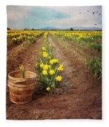 basket with Daffodils Fleece Blanket