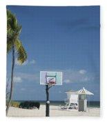 Basketball Goal On The Beach Fleece Blanket