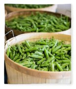 Baskets Of Fresh Picked Peas Fleece Blanket