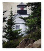 Bass Harbor Head Light Fleece Blanket