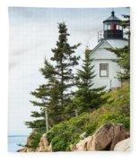 Bass Harbor Light Station Overlooking The Bay Fleece Blanket