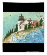 Bass Harbor Lighthouse Me Nautical Chart Map Art Cathy Peek Fleece Blanket