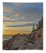 Bass Harbor Lighthouse Sunset Landscape Fleece Blanket