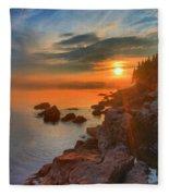 Bass Harbor Sunset Fleece Blanket