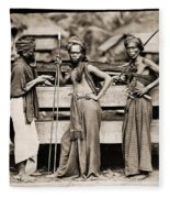 Batak Warriors In Indonesia 1870 Fleece Blanket