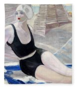 Bather In A Black Swimsuit Fleece Blanket