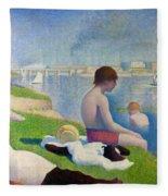 Bathers In Asnieres Fleece Blanket