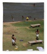 Bathing Ghats Fleece Blanket