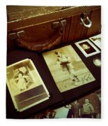 Battered Suitcase Of Antique Photographs Fleece Blanket