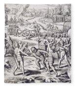 Battle Between Tuppin Tribes Fleece Blanket